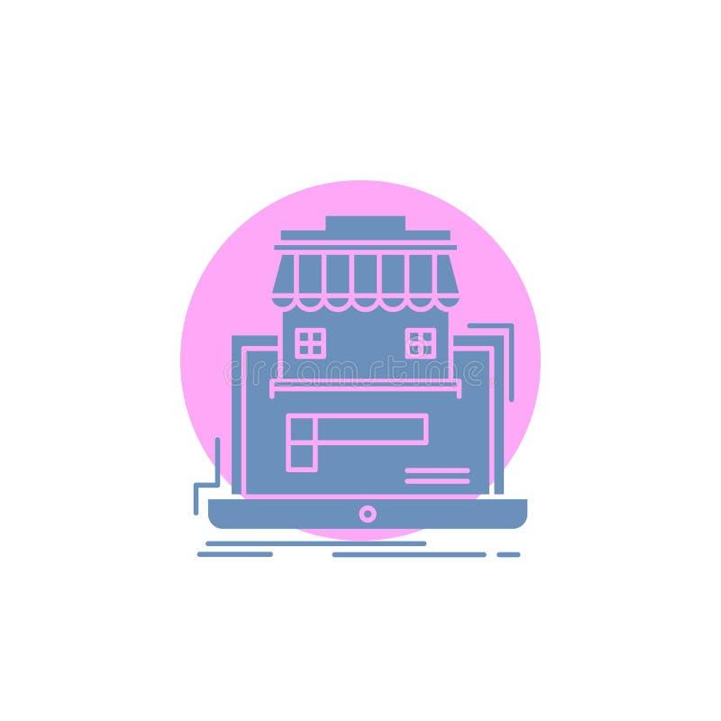 zaken, markt, organisatie, gegevens, het online Pictogram van marktglyph vector illustratie
