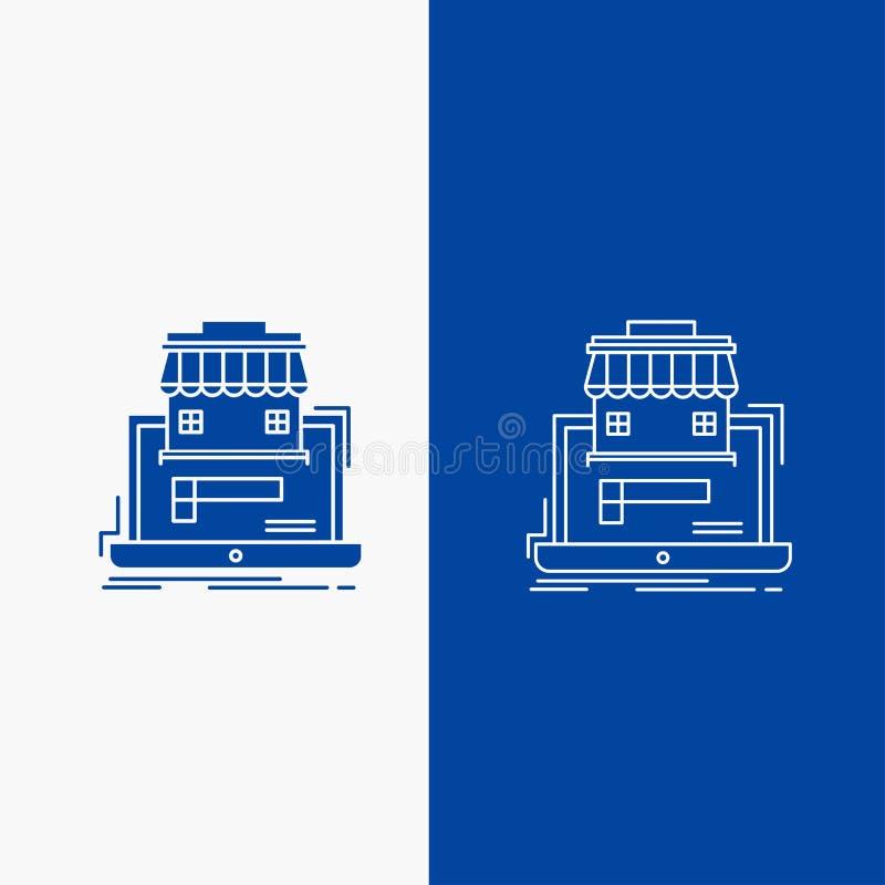 zaken, markt, organisatie, gegevens, online marktlijn en Glyph-Webknoop in Blauwe kleuren Verticale Banner voor UI en UX, vector illustratie