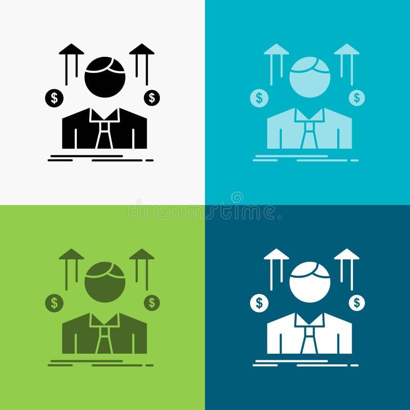 Zaken, mens, avatar, werknemer, het Pictogram van de verkoopmens over Diverse Achtergrond glyph stijlontwerp, voor Web dat en app vector illustratie