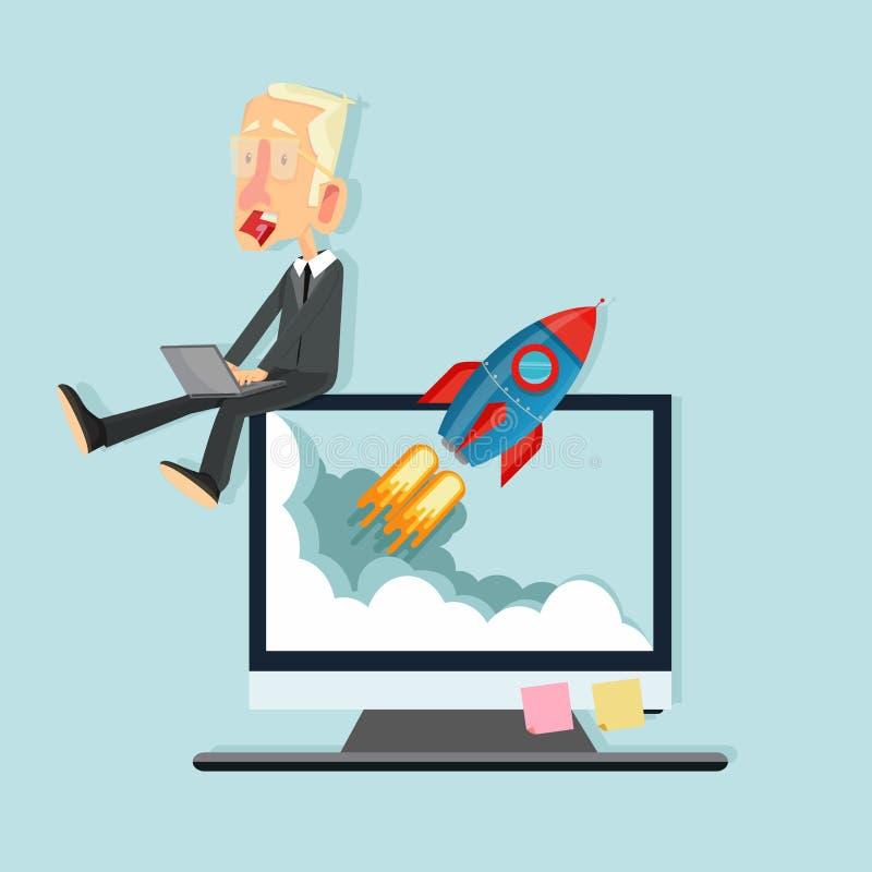 Zaken met het Vliegen raketconcept stock illustratie