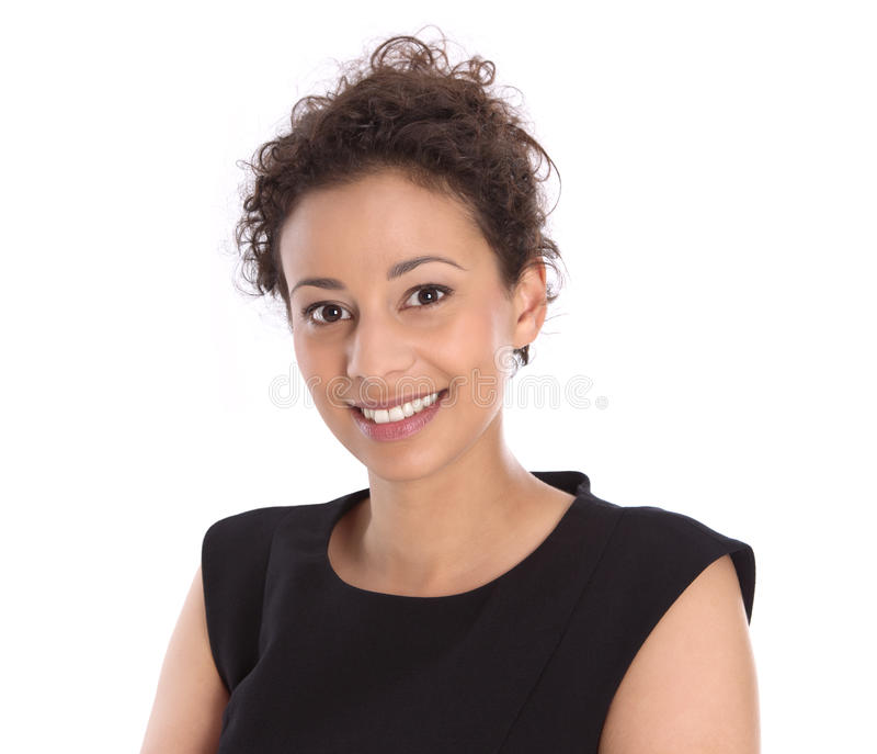Zaken: mooie vrouw in het zwarte geïsoleerd glimlachen bij camera stock afbeeldingen