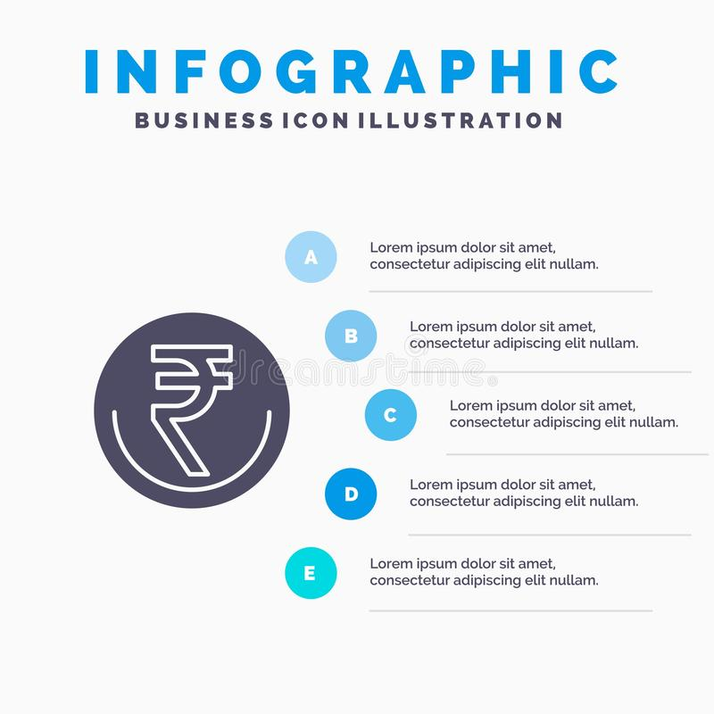 Zaken, Munt, Financiën, Indiër, Inr, Roepie, Handels Stevig Pictogram Infographics 5 de Achtergrond van de Stappenpresentatie vector illustratie