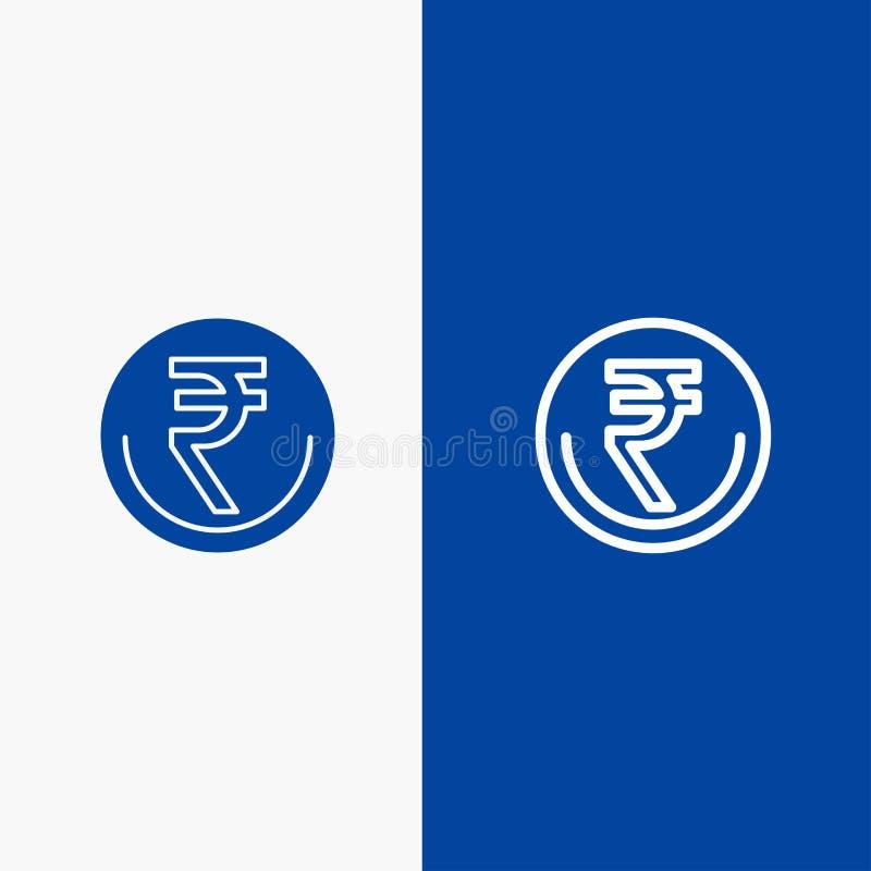 Zaken, Munt, Financiën, Indiër, Inr, Roepie, Handelslijn en Lijn van de het pictogram Blauwe banner van Glyph de Stevige en Stevi stock illustratie