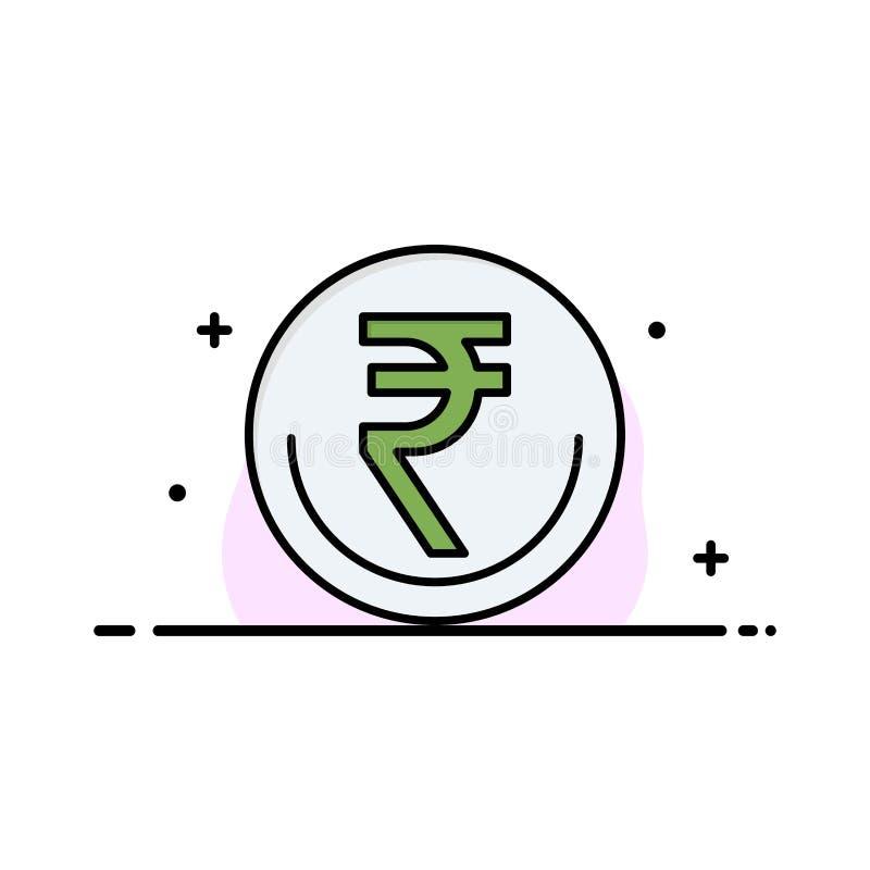 Zaken, Munt, Financiën, Indiër, Inr, Roepie, Handelszaken Logo Template vlakke kleur royalty-vrije illustratie