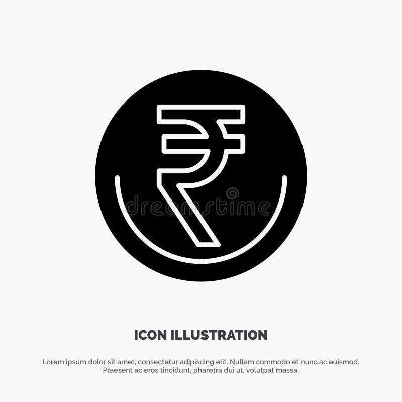 Zaken, Munt, Financiën, Indiër, Inr, Roepie, het Pictogramvector van Handels stevige Glyph vector illustratie