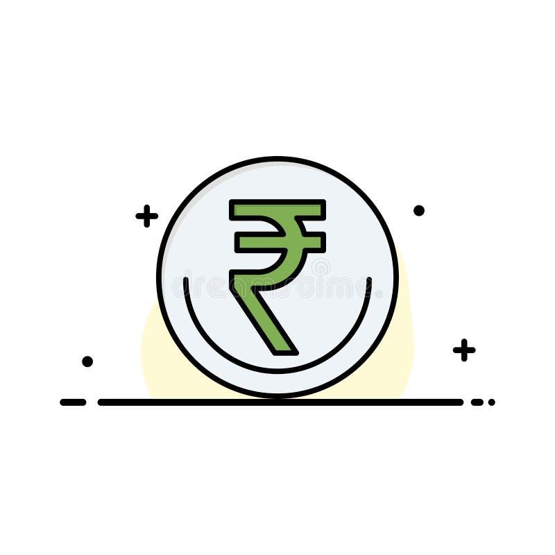 Zaken, Munt, Financiën, Indiër, Inr, Roepie, Malplaatje Handels van de Bedrijfs het Vlakke Lijn Gevulde Pictogram Vectorbanner vector illustratie