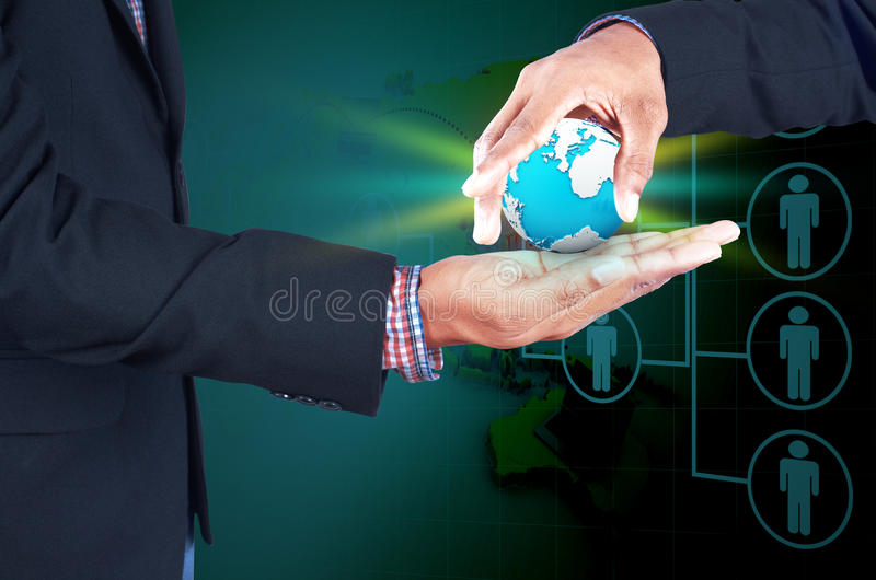 Zaken, nieuwe technologie en bureauconcept royalty-vrije stock afbeelding