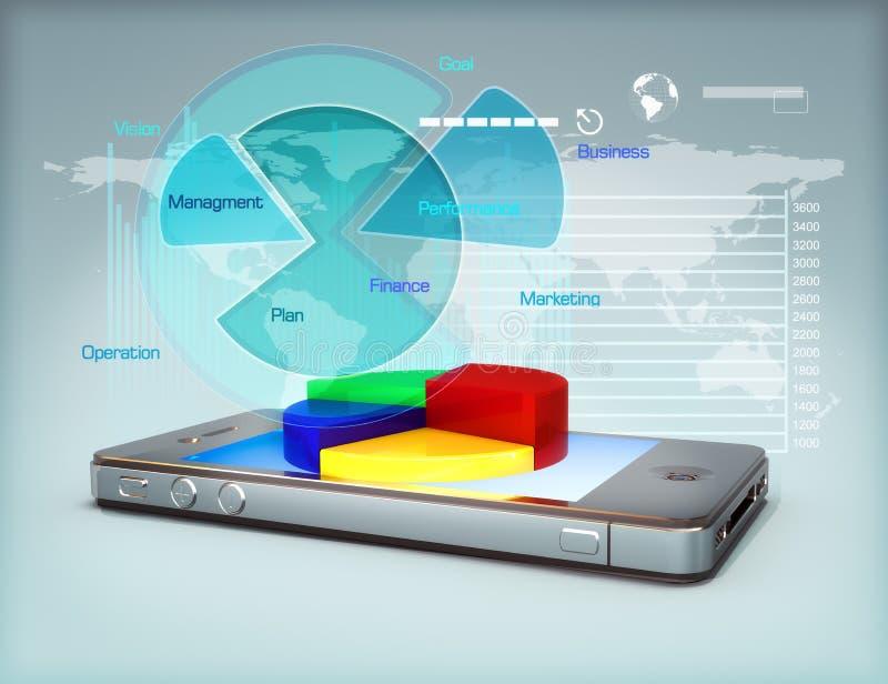 Zaken op een smartphone royalty-vrije illustratie
