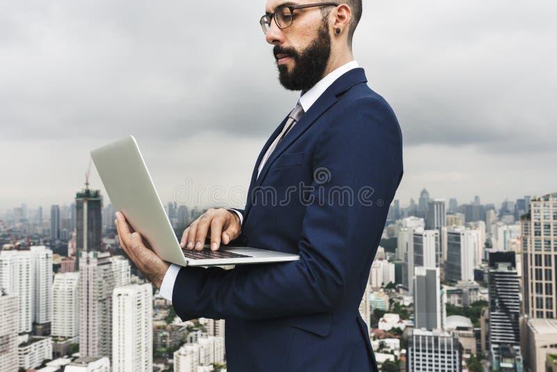 Zaken Person Standing Rooftop Concept stock afbeeldingen