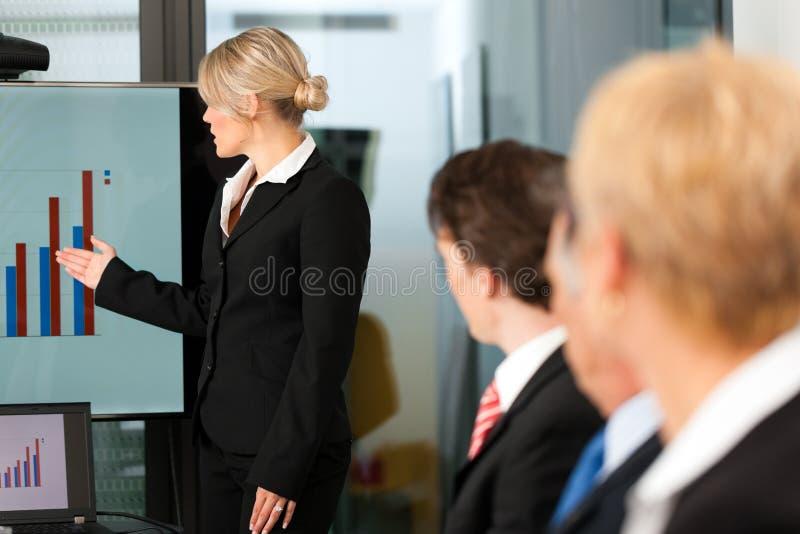 Zaken - presentatie binnen een team stock fotografie