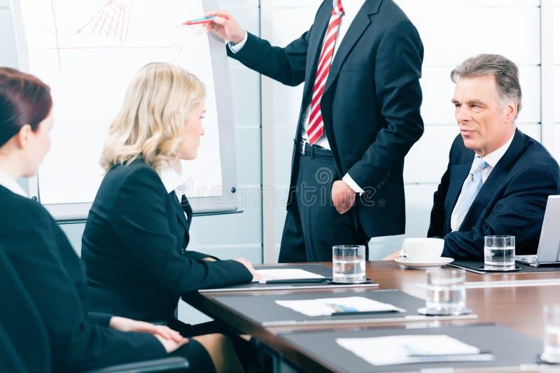 Zaken - presentatie binnen een team in bureau royalty-vrije stock foto