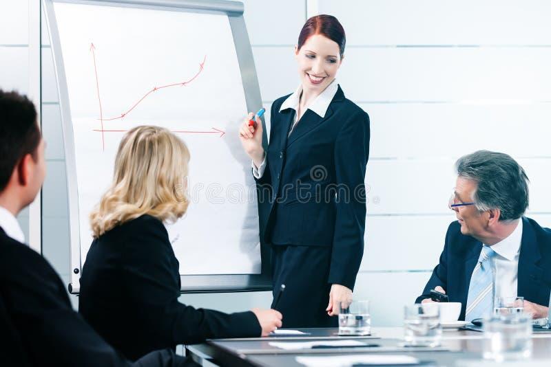 Zaken - presentatie binnen een team in bureau stock fotografie