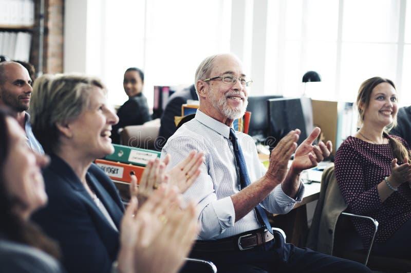 Zaken Team Meeting Achievement Applaud Concept stock foto
