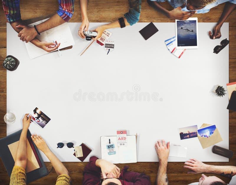 Zaken Team Travel Discussion Planning Concept stock foto's