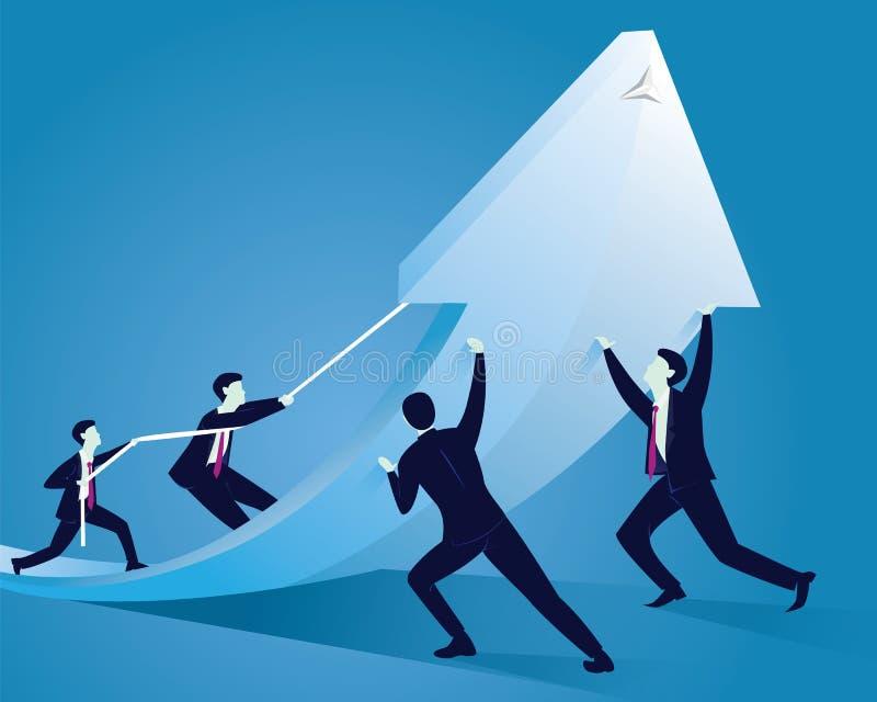 Zaken Team Work om Succes samen te bereiken stock illustratie