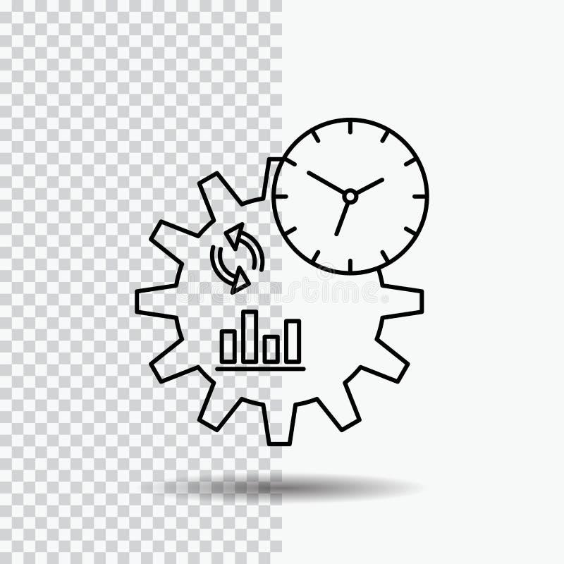 Zaken, techniek, beheer, het Pictogram van de proceslijn op Transparante Achtergrond Zwarte pictogram vectorillustratie royalty-vrije illustratie