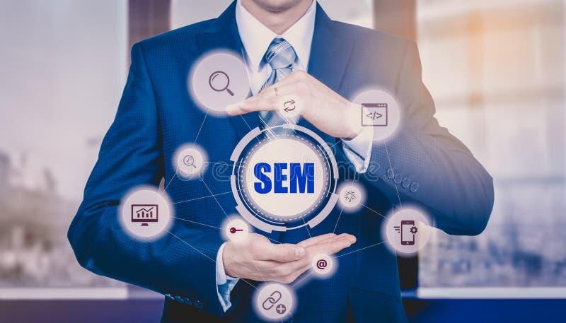 Zaken, technologie, Internet en voorzien van een netwerkconcept SMM - Sociale Media die op de virtuele vertoning op de markt bren royalty-vrije stock afbeeldingen