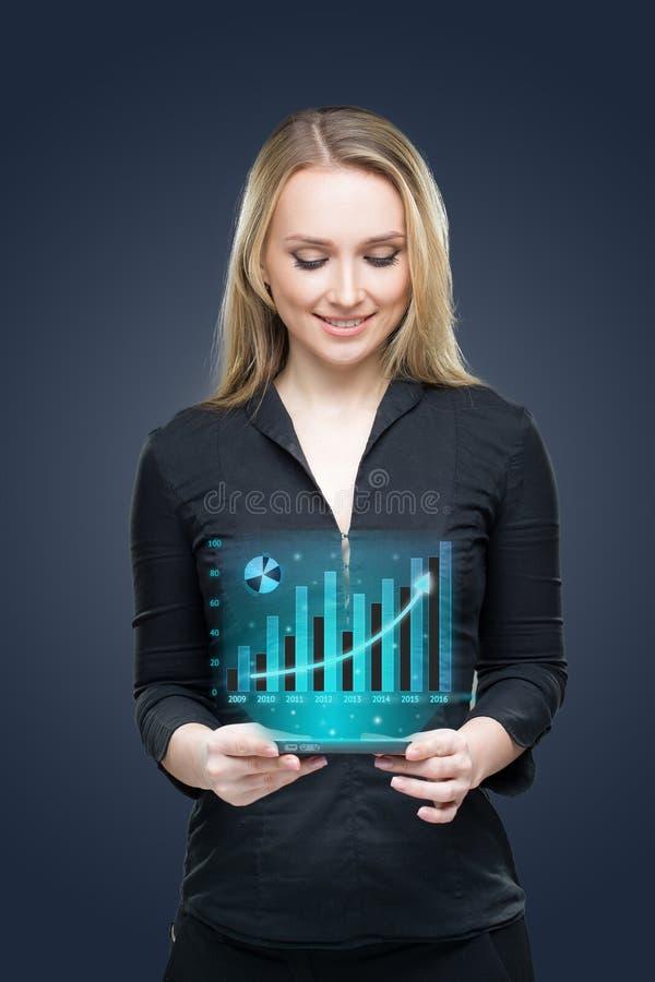 Zaken, technologie, investeringsconcept - vriendschappelijke jonge glimlachende onderneemster met tabletpc en grafiek stock foto's