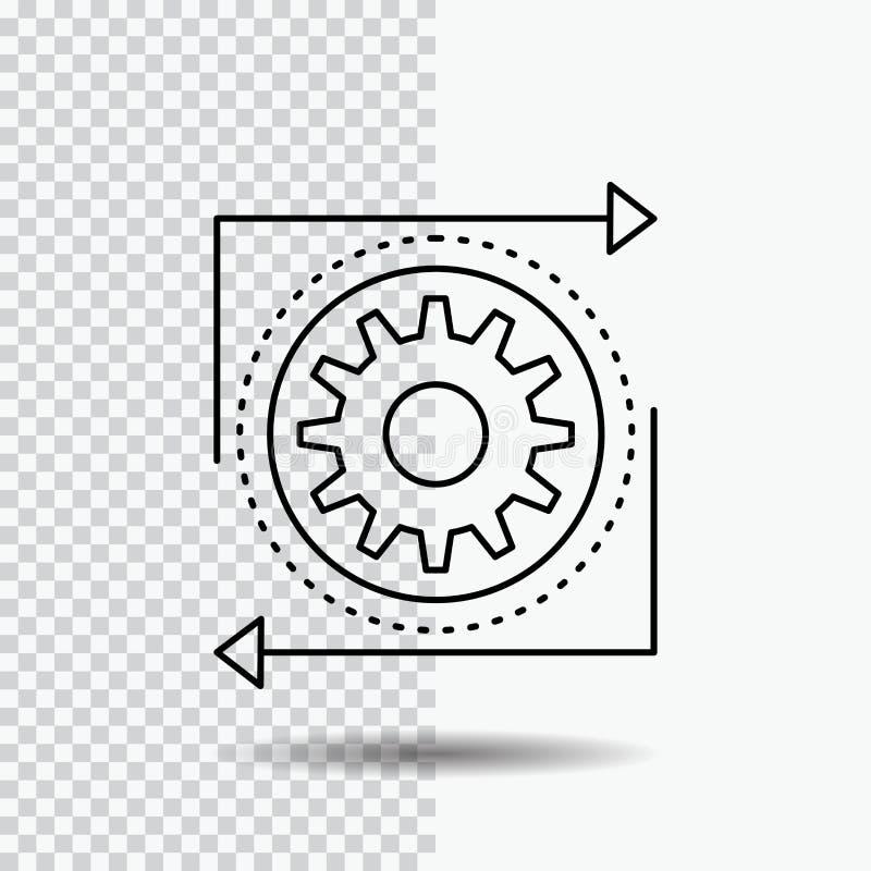 Zaken, toestel, beheer, verrichting, het Pictogram van de proceslijn op Transparante Achtergrond Zwarte pictogram vectorillustrat stock illustratie