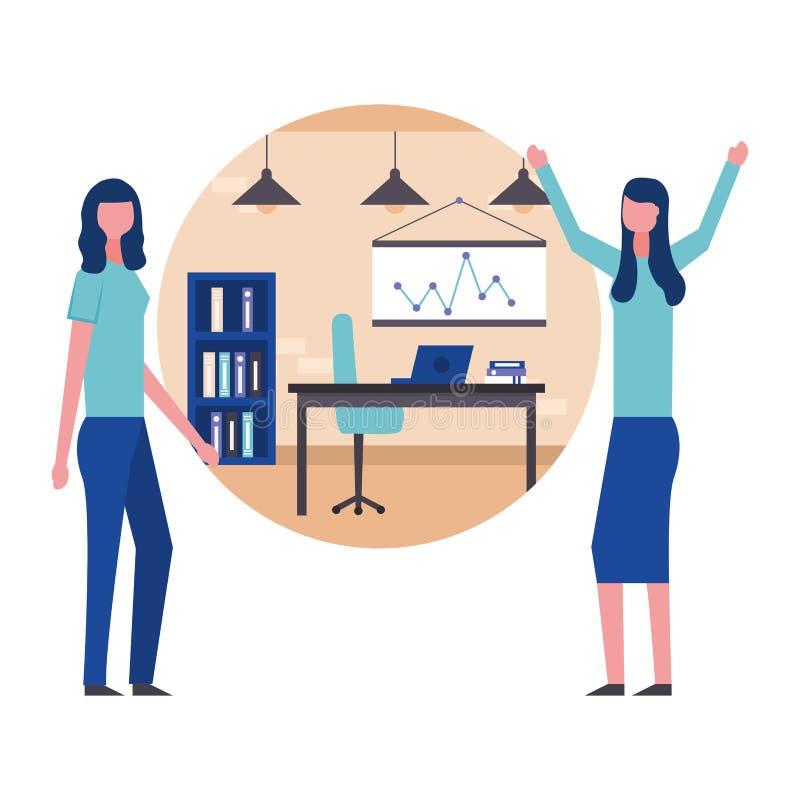 Zaken twee vrouw in het werkruimtebureau vector illustratie