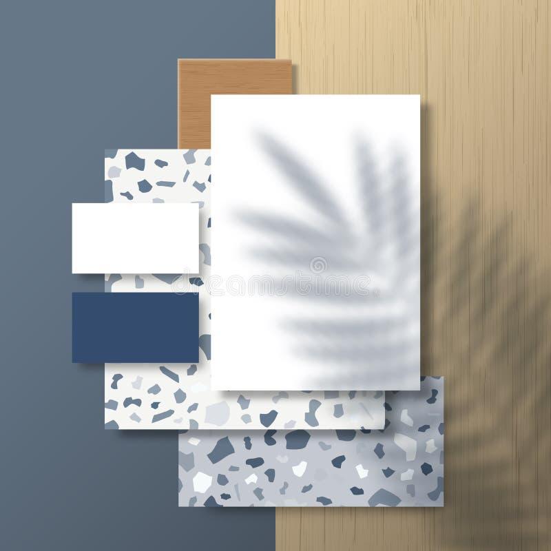 Zakenkaarten en brochure op Terrazzo Pattern and Wood Tiles Background met een tropische palm Leaves Shadow Overlay vector illustratie