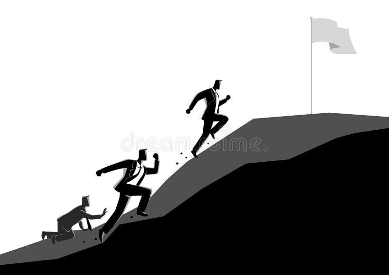 Zakenlieden die bergop de vlag rennen te grijpen vector illustratie