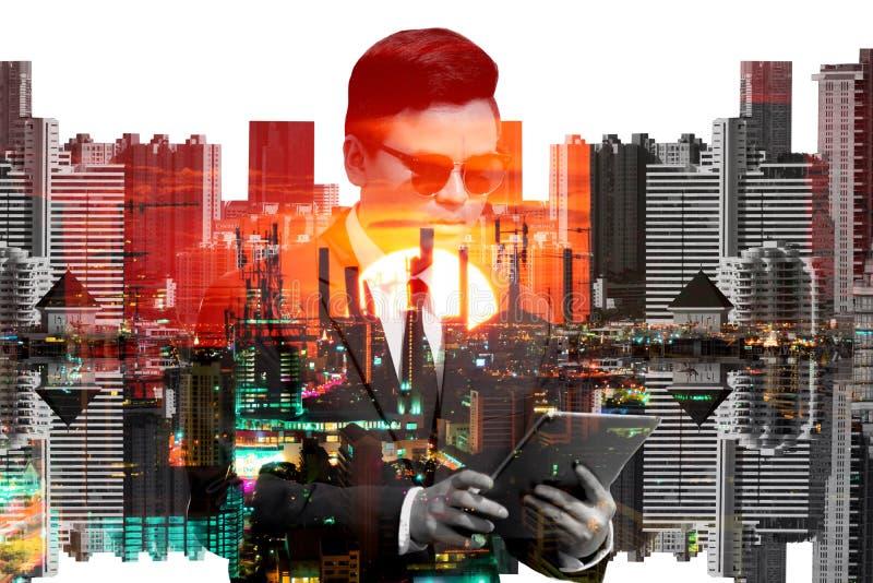 Zakenlieden en cityscape dubbele blootstellingsachtergrond royalty-vrije stock fotografie