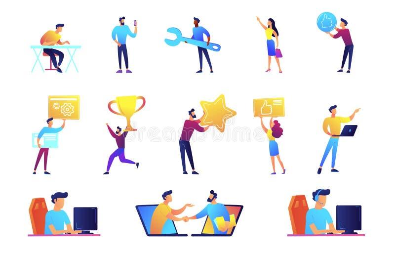 Zakenlieden en IT specialisten vector geplaatste illustraties vector illustratie