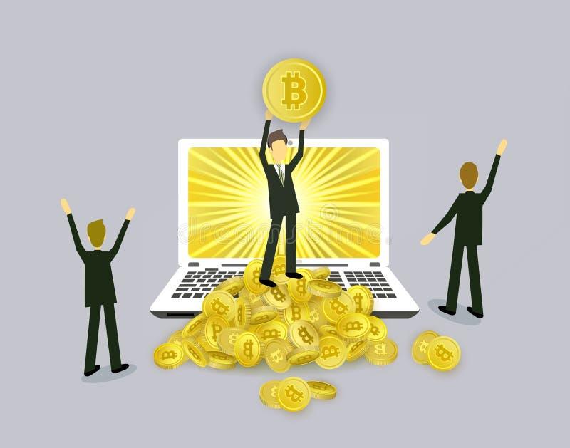 Zakenlieden, laptop en stapels bitcoinmuntstukken royalty-vrije illustratie