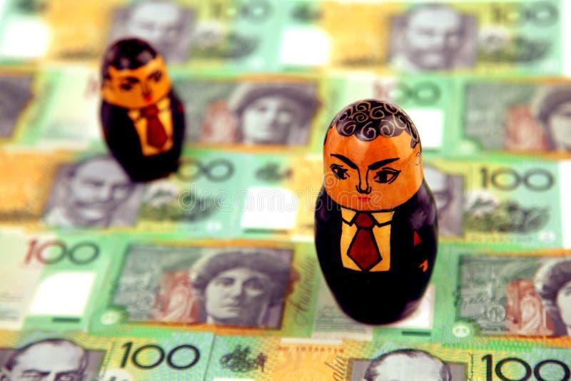 Zakenlieden met Australisch geld royalty-vrije stock foto