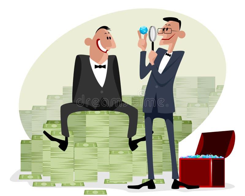 Zakenlieden met geld en diamanten vector illustratie