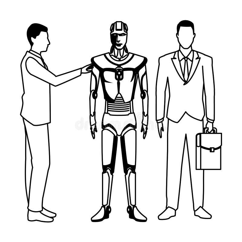 Zakenlieden met zwart-witte humanoidrobot vector illustratie