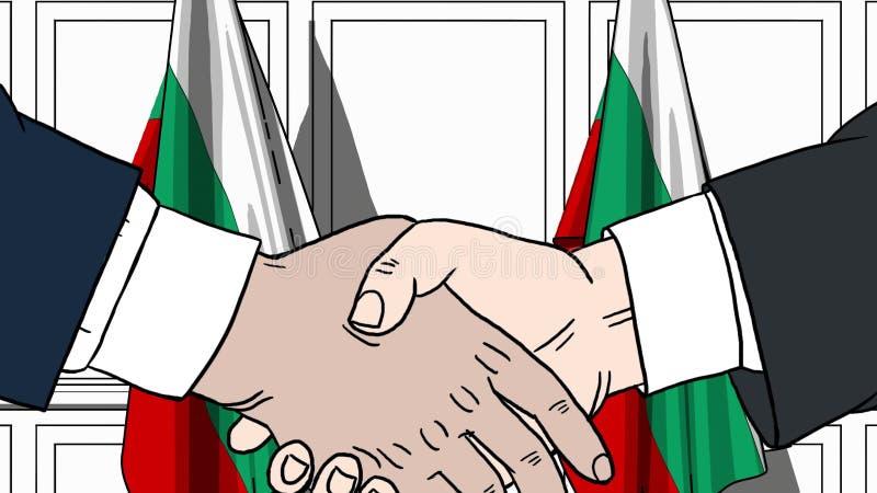 Zakenlieden of politici die handen schudden tegen vlaggen van Bulgarije Vergadering of samenwerking verwante beeldverhaalillustra vector illustratie