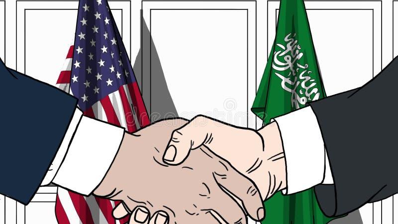 Zakenlieden of politici die handen schudden tegen vlaggen van de V.S. en Saudi-Arabië Vergadering of samenwerking verwant beeldve royalty-vrije illustratie