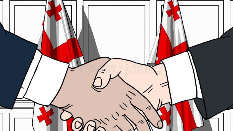 Zakenlieden of politici die handen schudden tegen vlaggen van Georgi? Vergadering of samenwerking verwante beeldverhaalillustrati royalty-vrije illustratie