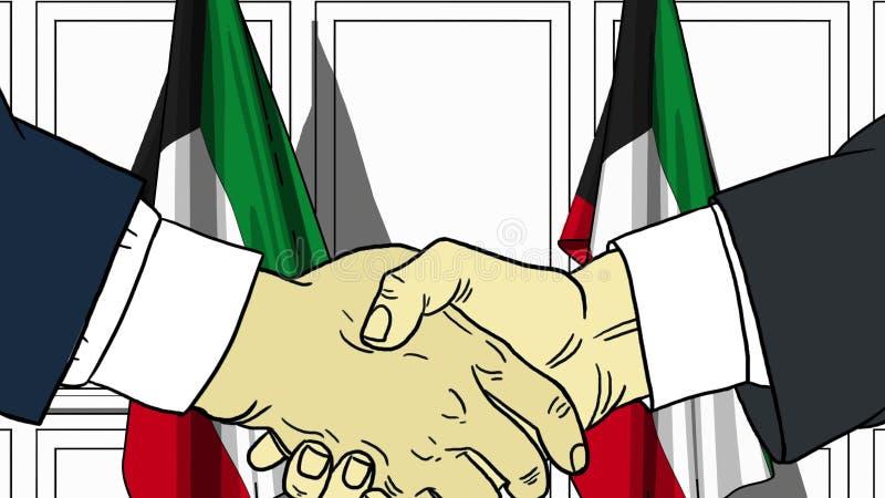 Zakenlieden of politici die handen schudden tegen vlaggen van Koeweit Vergadering of samenwerking verwante beeldverhaalillustrati stock illustratie