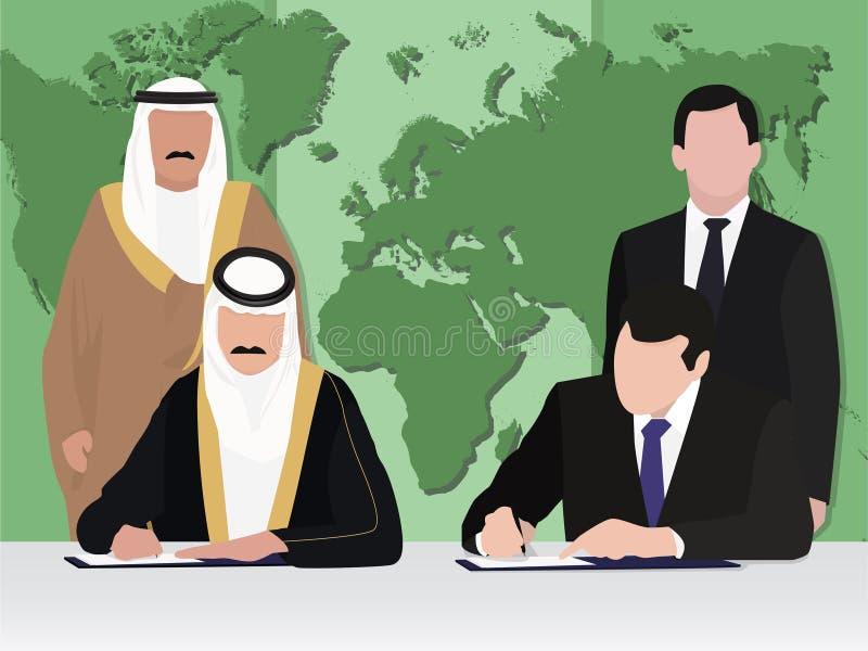 Zakenlieden, politiciceremonie van het ondertekenen van een contract, overeenkomsten vector illustratie