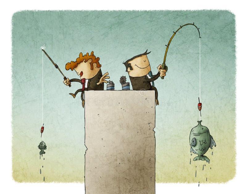 Zakenlieden visserij stock illustratie