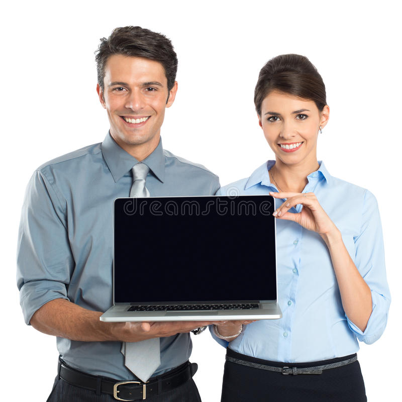 Zakenlui die Laptop tonen stock fotografie