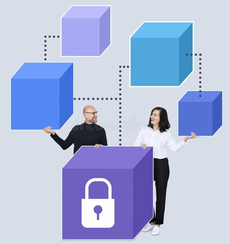 Zakenlui met een blockchainconcept stock foto