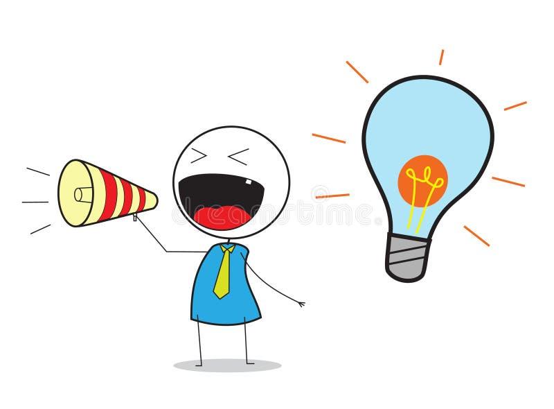 Zakenman Announce Idea vector illustratie