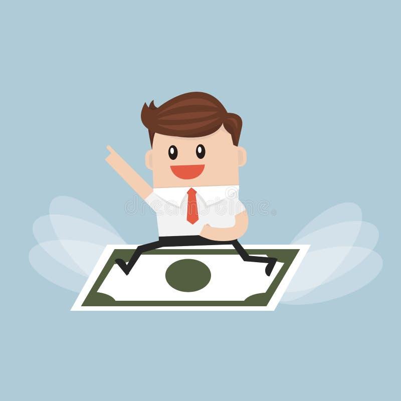 Zakenman berijdend vliegend geld Illustion van het bedrijfsconceptenbeeldverhaal vector illustratie