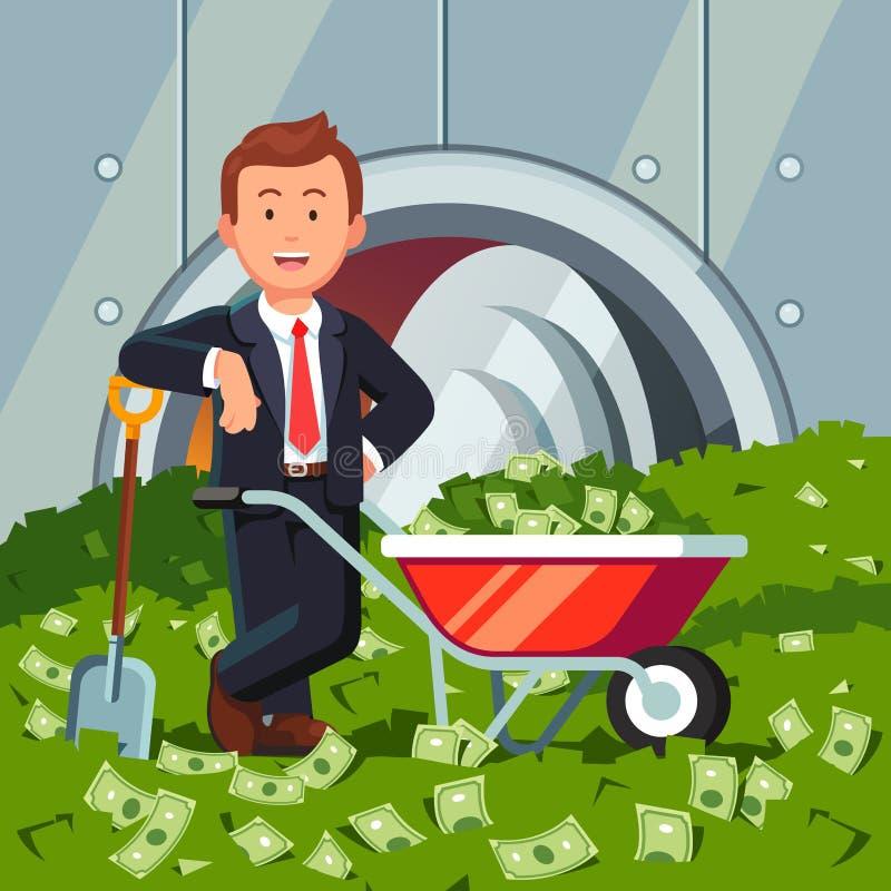 Zakenman binnen de tribunes van de bankkluis op contant geldstapel vector illustratie