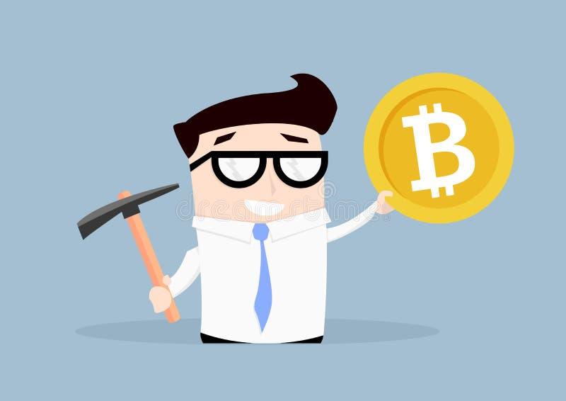 Zakenman Bitcoin Mining vector illustratie