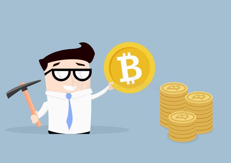 Zakenman Bitcoin Mining stock illustratie