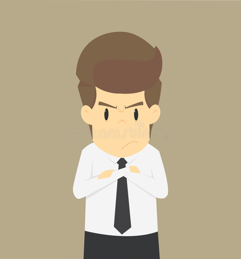 Zakenman boze Emotionele zakenman in woede Het voelen van woede royalty-vrije illustratie