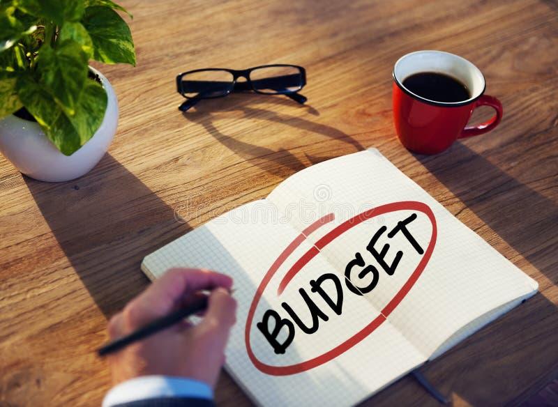 Zakenman Brainstorming About Budget royalty-vrije stock foto