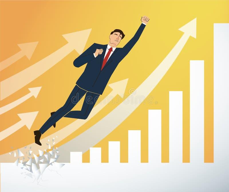 Zakenman Breaking de muur aan Succesvolle vector Bedrijfs conceptenillustratie stock illustratie