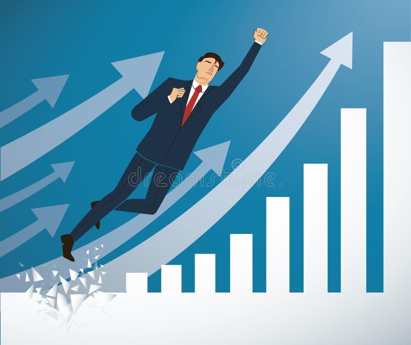 Zakenman Breaking de muur aan Succesvolle vector Bedrijfs conceptenillustratie vector illustratie
