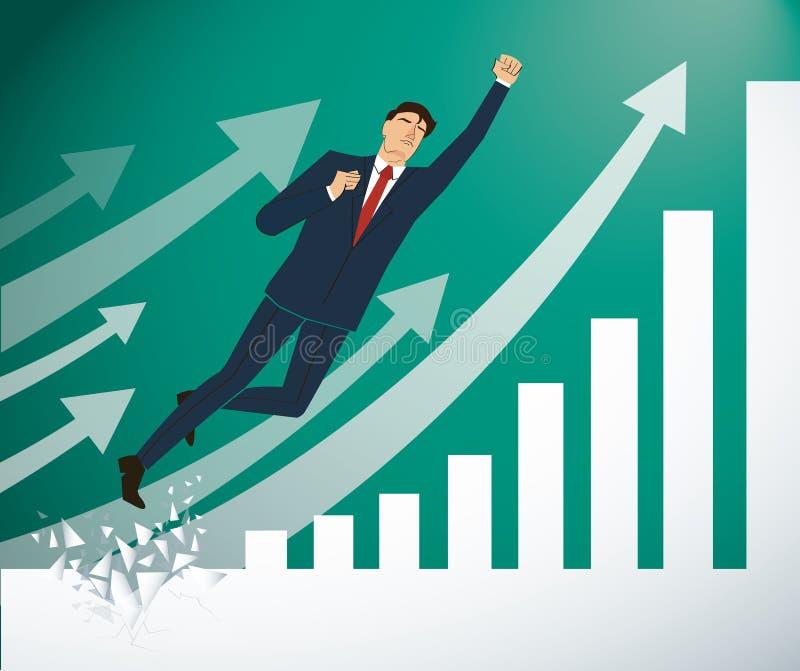 Zakenman Breaking de muur aan Succesvolle vector Bedrijfs conceptenillustratie royalty-vrije illustratie
